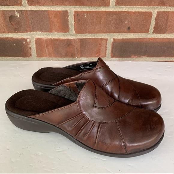 Brown Leather Slip On Low Heel Mules